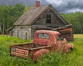 Old Forlorn Abandoned Farm Homestead with Rusty Chevy Pickup Truck No.3 A Fine Art Auto Landscape Photograph