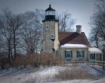 White River Station Lighthouse by Lake Michigan in Winter near Whitehall Michigan No.174 A Lighthouse Seascape Photograph