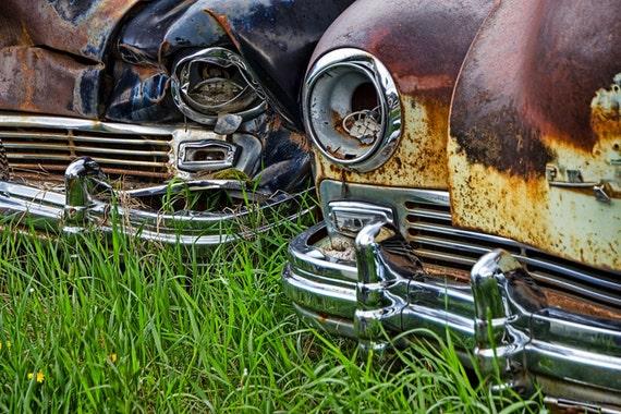 Front Ends of Vintage Frazer Auto Wrecks in Cooke City Montana near Yellowstone No.2453 A Fine Art Automobile Car Photograph