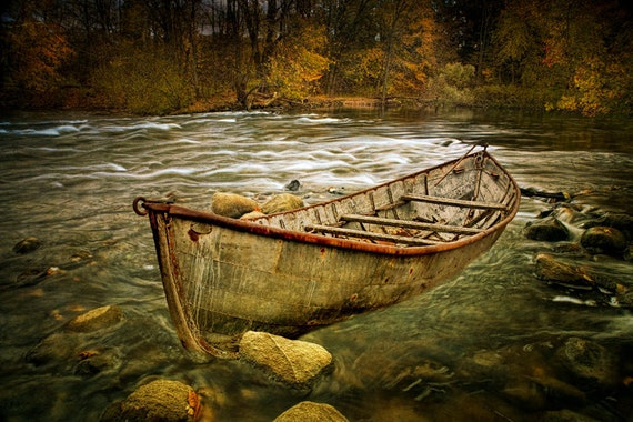 Canoe on the Thornapple River in Autumn in West Michigan with Textured Overlays No.00136OL - A Fine Art Fall Boat Photograph