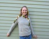 Earth Friendly vintage repurposed granny squares head wrap/scarf in Earth tones