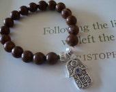 Wood Agate 8mm Beads with Hand of Fatima, Hamsa charm Stretch Bracelet Everyday Pretty