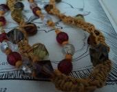 Macrame Mustard Yellow Womens Beaded Necklace
