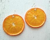 Real Orange Slice  Earrings - Fruit Jewelry - Real Fruit - Vegan Jewelry