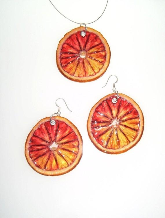 Blood Orange Set - Fruit Jewelry
