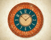 TUSCAN SUNSHINE - 14in Large Wall Clock in Teal & Burnt Orange. Custom Clock. Kitchen Decor. Office Clock. Wall Decor. Ready to Ship