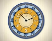 TRAINTOWN - 14in Children Wall Clock  in Yellow, Blue & Gray. Vintage Trains. Educational Toy. Nursery Decor. Gift for Kids. Kids Clock