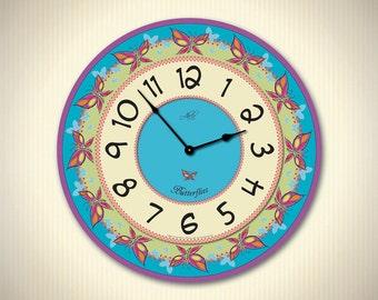 BUTTERFLIES - 14in Children Wall Clock with Butterflies. Custom Clock. Kids Decor. Nursery Decor. Educational Toy. Back to School