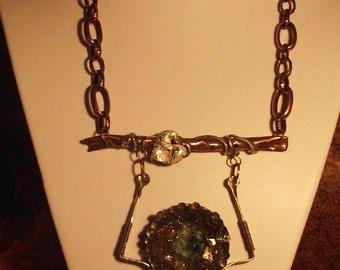 Sterling Sliver n Copper Broken Wing Angel Necklace / Artisan Assemblage Vintage Chic