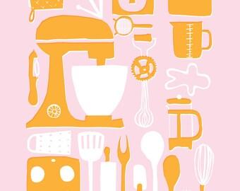 A3 Retro Kitchen Illustration Print