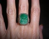 Carved Green Jade Chinese Silver Sterling SS 925 Ring Size 6.25 Filigree Birds Vintage