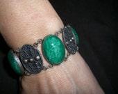 Green Enamel Sterling Silver SS 925 Taxco Mexico Bracelet Mid Century Vintage