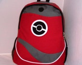 Pokeball Red Backpack with Black Pokeball School Book Bag Pokemon