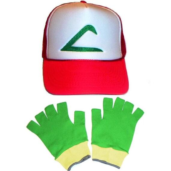 Pokemon Costume Ash Ketchum Original Trainer Hat and Gloves set  Halloween Chld or Adult Size