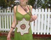 RESERVED FOR Aynsley1 Olive Green Hand Dyed Slip Dress With Brown Doily