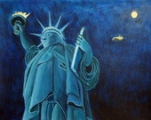 Dreaming of Lady Liberty from Up on High- Original Painting