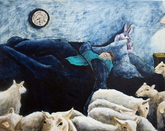 Counting Sheep Original Painting