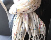 beautiful ivory scarf with ribbons