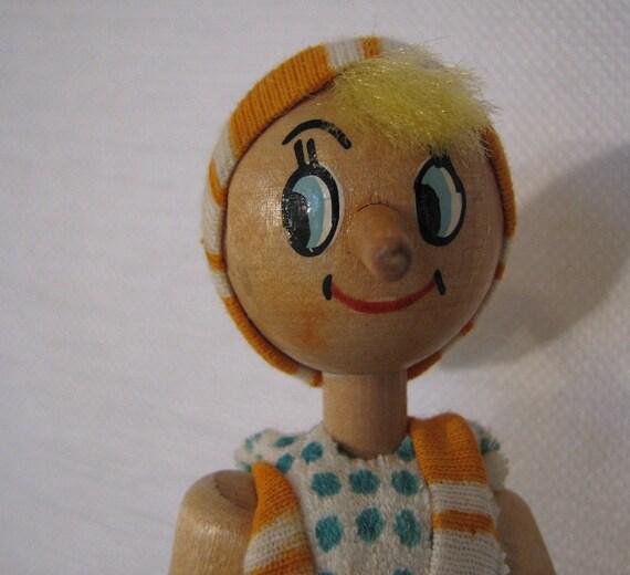Vintage wooden pinocchio toy doll by fsfarmvintage on etsy