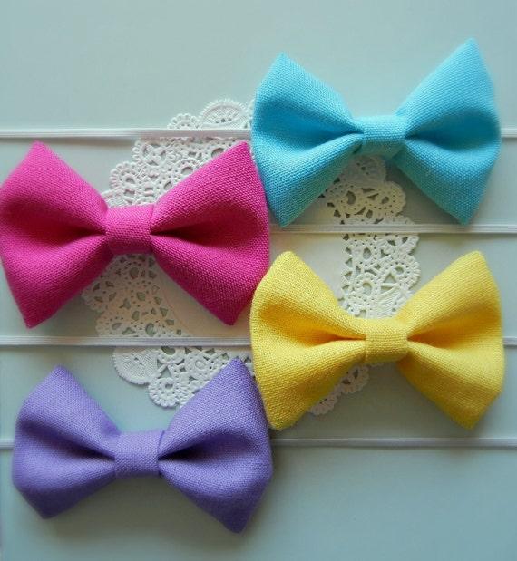 Spring Fabric Bow Headbands CHOOSE 3