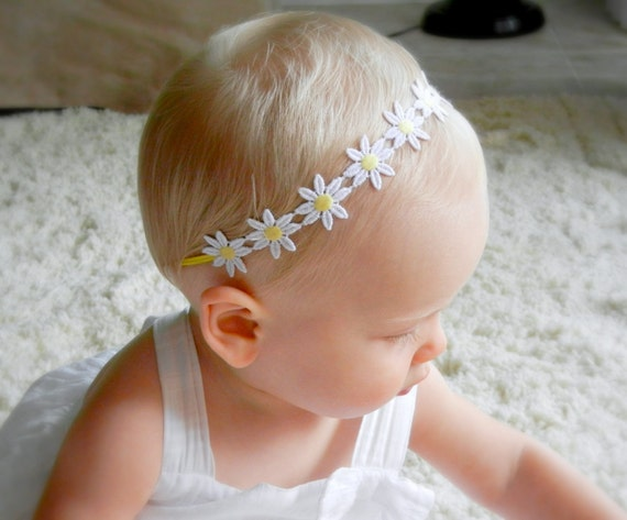 Fabric Flower Headband - Hippie Daisy Trim Headband - White Skinny Elastic