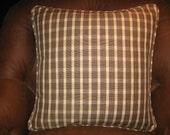 Brunschwig and Fils Brown Check Linen pillow with welt