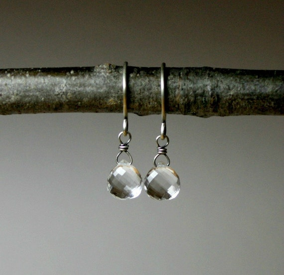 rock crystal sterling silver earrings FREE SHIPPING