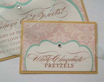 Damask Candy Buffet Labels with Color Customization