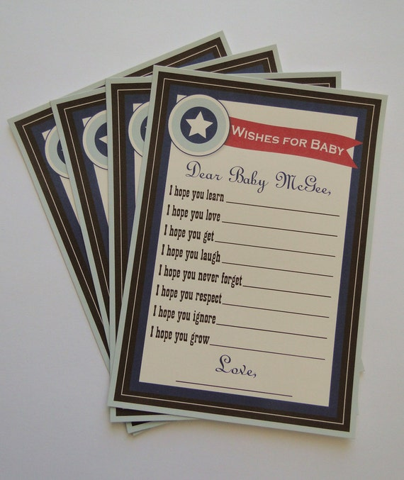 Custom Wedding or Baby Shower Advice Cards Backyard BBQ Theme