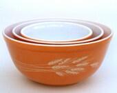 Vintage Pyrex Bowls, Mixing Dishes, Harvest Orange Baking Wheat Red Kitchen Home Decor, Set of 3