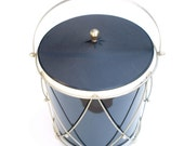 Vintage Ice Bucket, Black Vinyl Exterior, Great Christmas Gift for him, Dude, Man, Men, Masculine, Drum, Music