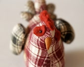 Vintage Plaid Hen, Little Red Hen, Chicken, Farm, Farmyard, Country, bird, Feather, Red, Tartan, Christmas Hostess Gift