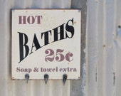 Hot Baths 25c - Fine Art Photography - Bathroom Rustic Country Living Vintage Shabby Chic Farm Farmhouse Home Decor
