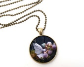 Fairies in the Garden  - Wearable Fairy Photo Art Pendant - Origninal Fine Art Jewelry - flower children fairytale garden pink lavender