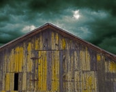 The Light Before The Storm - Fine Art Photograph, country barn home decor photo yellow stormy sky