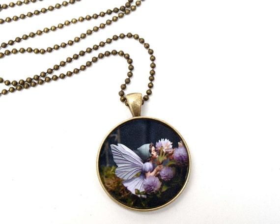 Fairies in the Garden  - Wearable Fairy Photo Art Pendant - Origninal Fine Art Jewelry - flower children fairytale garden pink lavender