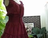 M-XL Princess Cotton Dress Extra Long - Red Wine/ Burgundy