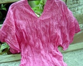 Thai Simply Loose Fit Cotton V Blouse - PINK