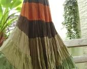 Ariel on Earth - Boho Gypsy Long Tiered Cotton Extra Wide Swirling Skirt - Mali 504