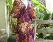 Print Cotton Long V Blouse - Purple