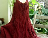 L-XL Double Layers Maxi Cotton Dress - Red Wine