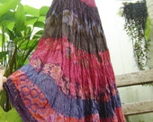 ARIEL ON EARTH - Patchwork Dyed Cotton Long Tiered Skirt - P0101