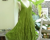 M-XL Double Layers Cotton Dress - Apple Green