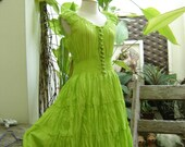 Princess Cotton Short Dress - Fresh Apple Green