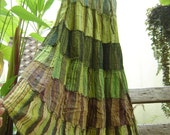 Woven Dyed Cotton Long Tiered Skirt - G0601