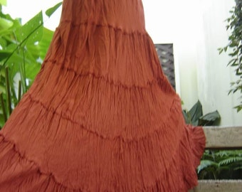 Ariel on Earth - Boho Gypsy Long Tiered Ruffle Cotton Skirt - Brick