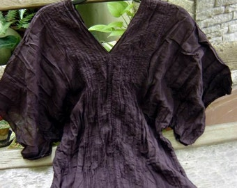 Thai Simply Loose Fit Cotton V Blouse - Choc Brown