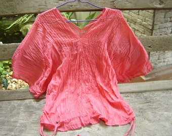 Thai Simply Loose Fit Cotton V Blouse - Peach Pink