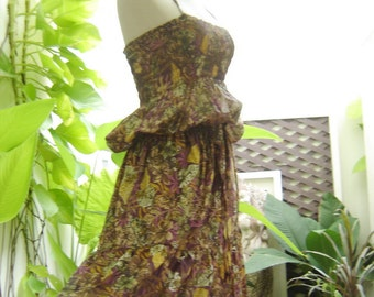 In the Jungle Purple-Brown Printed Cotton Top Smocked Ruffle Tiered Full Long Maxi Dress