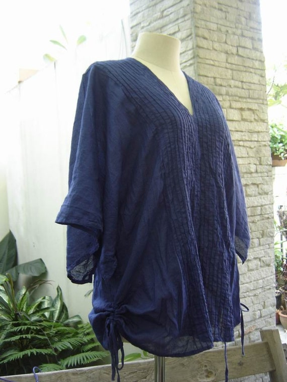 Thai Simply Loose Fit Cotton V Blouse - Navy Blue